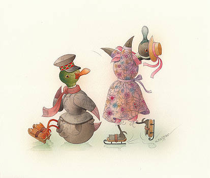 Skating Ducks 10 by Kestutis Kasparavicius