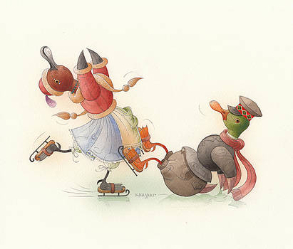 Skating Ducks 8 by Kestutis Kasparavicius