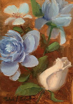 Sketch of Blue and White Flowers by Michele Tokach
