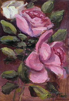 Sketch of Pink and White Roses by Michele Tokach