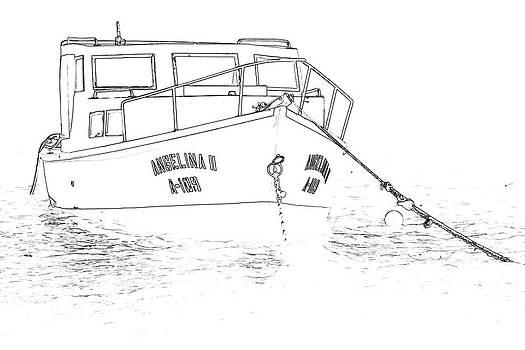David Letts - Sketch of the Fishing Boat of Aruba Angelina