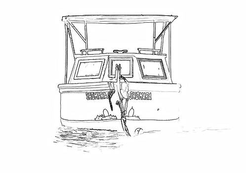 David Letts - Sketch of the Fishing Boat of Aruba Shomara II