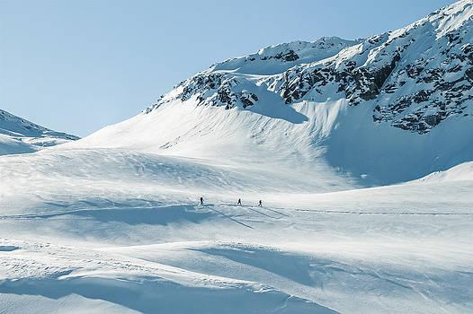 Ski Tourer On Big Mountains In A Winterlandscape  by Leander Nardin