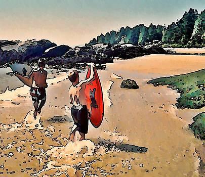 Skim Boarders by Stanley  Funk