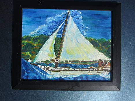 Skipjack Nathan of Dorchester Famous Sailboat at Sea by Debbie Nester