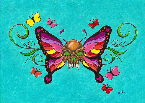 Skulliefly on Blue by Rik Hayes
