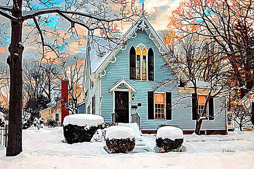Sky Blue Gingerbread House  by Dorothy Walker