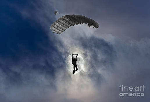 Skydiver and moon by Mats Silvan