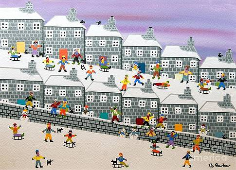 Sledging down the hill by Gordon  Barker