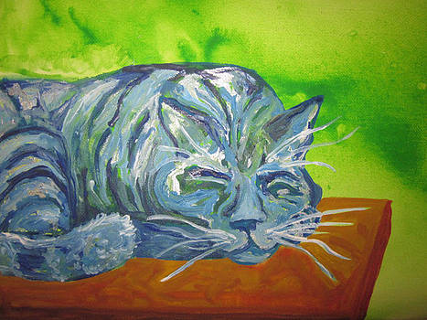 Sleeping Blue Cat by Cherie Sexsmith