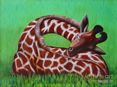 Sleeping Baby Giraffe by Ruben Archuleta - Art Gallery
