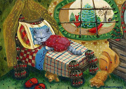 Sleepy Christmas Kitty by Jacquelin Vanderwood