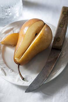 Sliced Pear and Knife by Damian Hevia