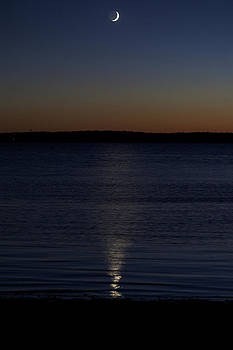Sliver - a crescent moon on the lake by Jane Eleanor Nicholas