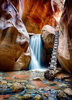 Slot Canyon Waterfall by Kevin Rowe