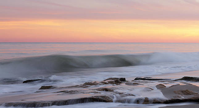 Slow Motion Wave At Colorful Sunset by Jo Ann Tomaselli