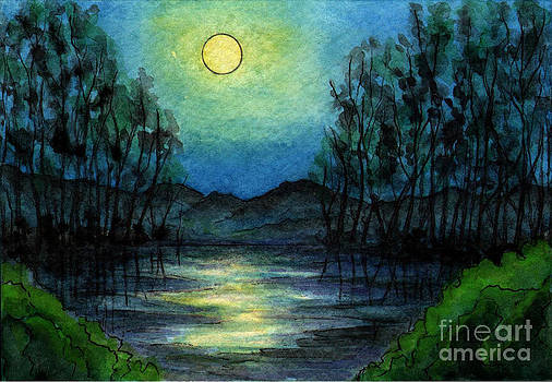 Sm014 Full Moon Over Lake by Kirohan Art