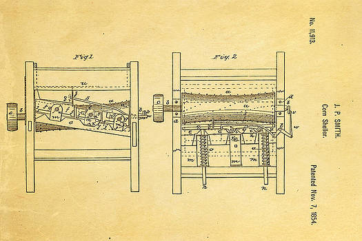 Ian Monk - Smith Corn Sheller Patent Art 1854