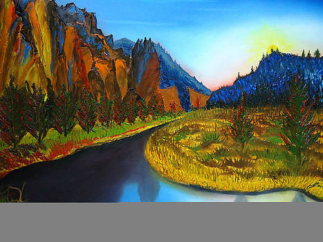 Smith Rock At Sunset Bend Oregon by Portland Art Creations