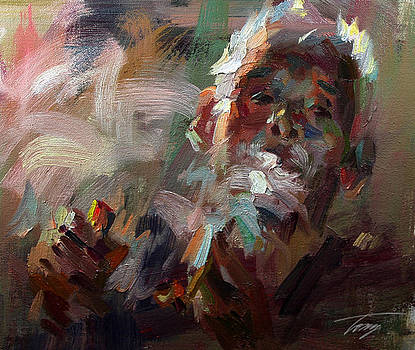 Smoking Elderly by Tony Song