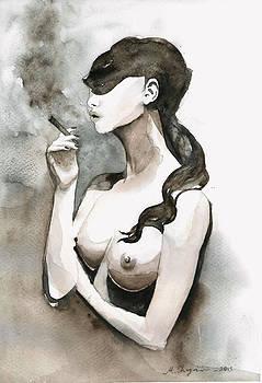 Smoking Nude Woman by Mahsa Watercolor Artist