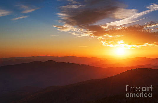 Smoky Mountains Sunset by Maria Aiello