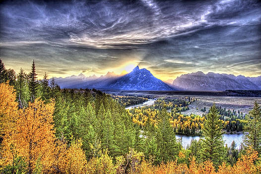 Snake River Over Look Fall Sunset by Floyd Tillery