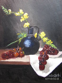 Snapdragons Grapes and Pitcher by Barbara Haviland