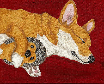 Snoozing with my Hedgie by Karen Howell