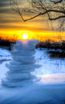 Snow Candle - North of Chicago 1-8-14 by Michael  Bennett