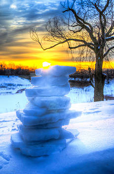 Snow Candle - Sunrise North of Chicago 1-8-14 002  by Michael  Bennett