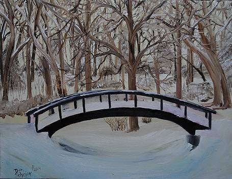 Snow Covered Bridge in the Woods by Donald Schrier