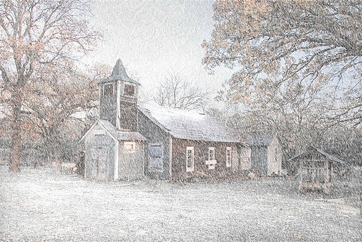 Snow Fall Old Church by Cindy Rubin