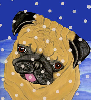 Snow Flakes Pug by Karen Howell