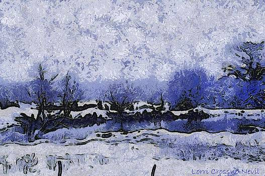 Snow in Texas Van Gogh Style by Lorri Crossno