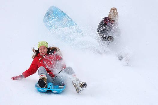 Anne Barkley - SNOW SLEDDING FUN