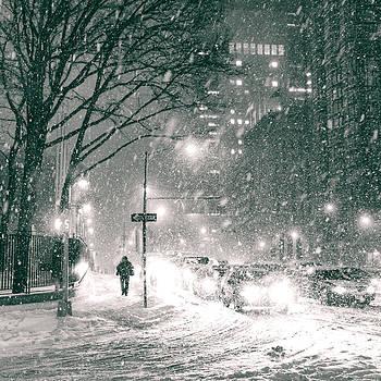 Snow Swirls at Night in New York City by Vivienne Gucwa