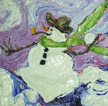 Snowball Fight Snowman by Paris Wyatt Llanso