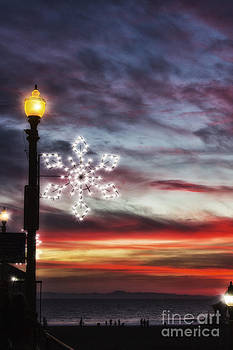 Snowflake Lights and Sunset HB Pier 2014 by Susan Gary