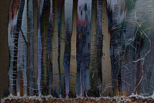 Snowing in the Ice Forest at Night by Angela A Stanton
