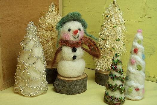 Snowman and Trees Holiday by Mary Wolf