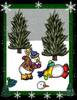 Snowman Christmas 3 by Karen Sheltrown
