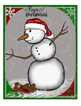 Snowman Christmas 5 by Karen Sheltrown