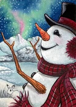 Snowman Enjoys Aurora Borealis by Debrah Nelson