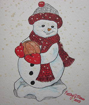 Snowman Playing Basketball by Kathy Marrs Chandler