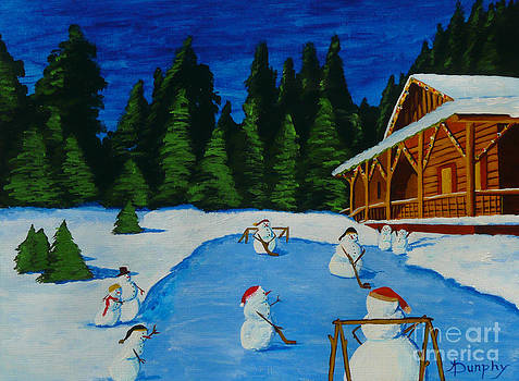 Snowmans Hockey Two by Anthony Dunphy