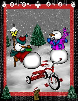 Snowmen Playing by Karen Sheltrown