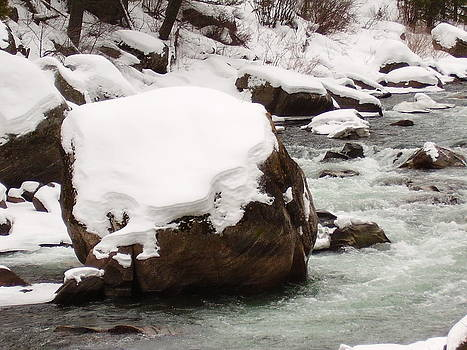 Snowy Boulder by Yvette Pichette