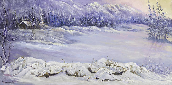 Snowy Bushes by Ann Arensmeyer