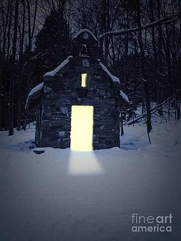 Edward Fielding - Snowy chapel at night